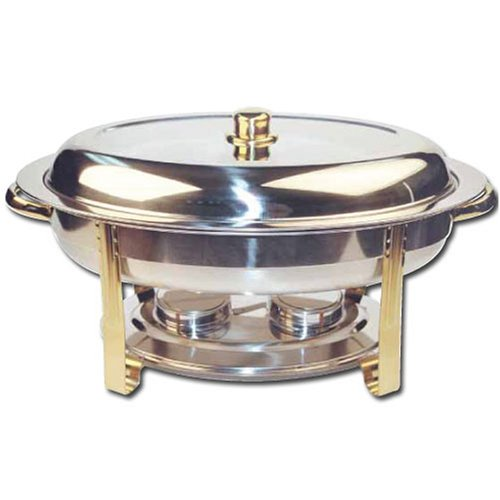 Winware 6 Quart Oval Stainless Steel Gold Accented Chafer by Winware