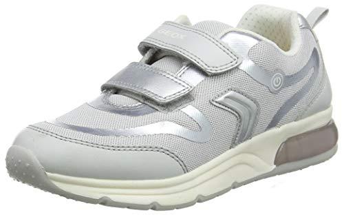 Geox Mädchen J SPACECLUB GIRL C Sneaker, Silber (Grey/Silver C0570), 35 EU