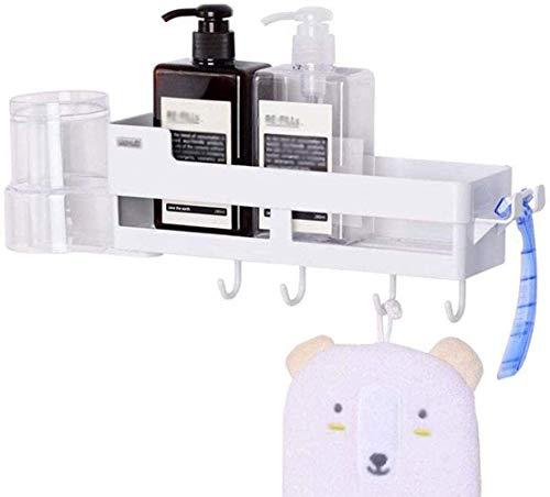 HTL Estante de almacenamiento para baño, estante de baño, soporte de pared, estante de almacenamiento para el hogar, fácil de instalar