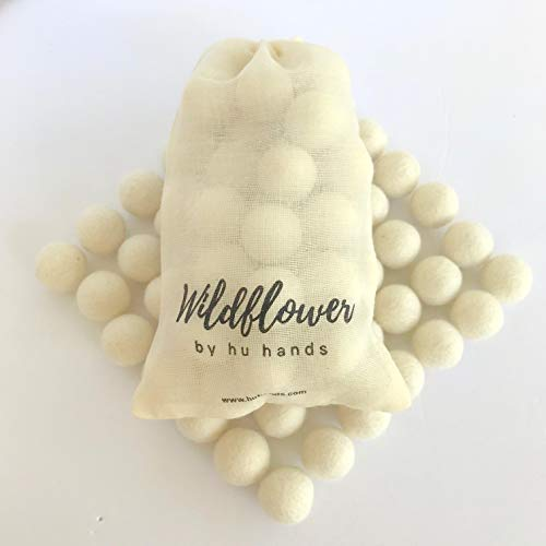 Natural White Felt Balls 1 inch (2.5cm) | (50) Wool Pom Poms | Hand Felted Pompoms for Crafts, Felting, Garland, Decor, Party | Muslin Bag