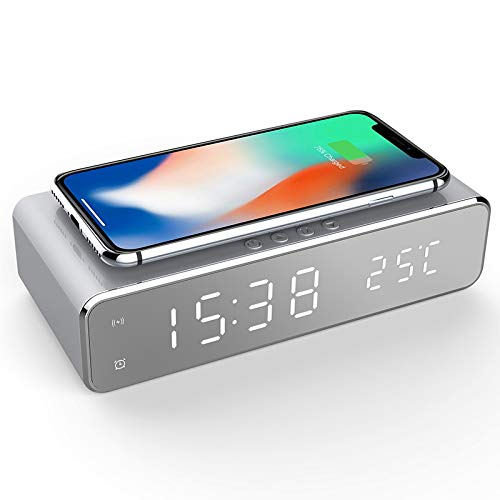 GPNY LEVOU Despertador Digital Sem Fio Do Carregador Display Com O Tempo E Temperatura Desktop Digital Relógio Termômetro Sem Fio HD Espelho Relógio Com Memória Do Tempo