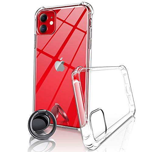 eSamcore iPhone 11 Clear Case, Thin Crystal Clear Protective Phone Case + Ceramic Wireless Charging Friendly Slim Ring Holder for Apple iPhone 11 6.1 Inch 2019