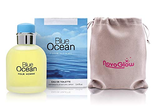 Blue Ocean Pour Homme- Eau De Toilette Spray Perfume, Fragrance For Men- Daywear, Casual Daily Cologne Set with Deluxe Suede Pouch- 3.4 Oz Bottle- Ideal EDT Beauty Gift for Birthday, Anniversary