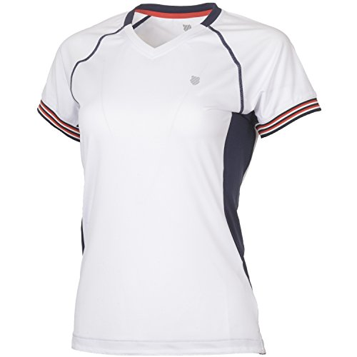 K-Swiss Heritage S/S Camiseta de Tenis, Mujer, Blanco, L
