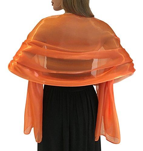 Boda Chal Mantón Estola Abrigo Prom Pashmina Novia Dama De Honor (Naranja)