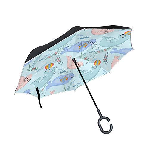 Linda Bola De Foca Azul Paraguas Invertido Plegable de Doble Capa Paraguas...