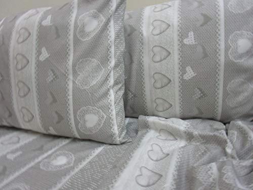 Pago Poco Bettwäsche-Set aus superweicher Mikrofaser, Design: Shabby-Chic-Stil, für Einzelbett, für Doppelbett, Farben: Grau / Rot ! 160 x 190 cm grau