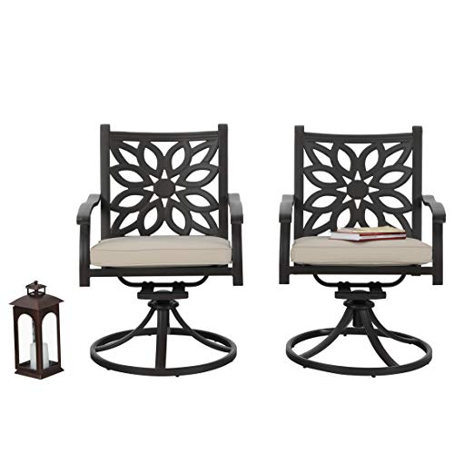 PHI VILLA Outdoor Swivel Chairs with Cushion Set of 2, Cast Aluminum Extra Wide Patio Dining Chairs - Frosted Surface