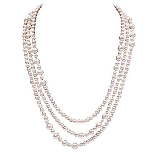 JYX perlenkette weiß suesswasser perlenkette lang Perlenkette mit großen, runden, natürlichen Perlen, 5-6 mm, weiß