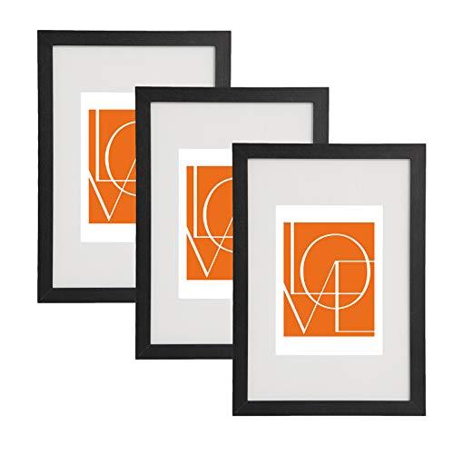 WOLTU 3er Set Bilderrahmen Fotorahmen Holzrahmen 30x45cm, Fotogalerie mit Papier-Passepartout, aus MDF Platte, BR9654sz-3
