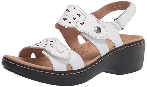 Clarks Women's Merliah Dove Sandal, White Leather, 7
