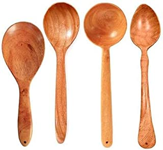 TORA Creation TC (Pack of 4) Neem Wood Cooking Ladles Wooden spatulas for Non Stick Dosa Roti Spatula/Brown Kitchen Tool S...