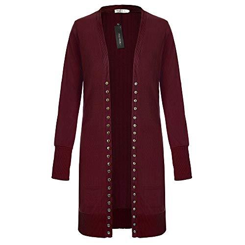 SELENECHEN Damen Cardigan Langarm Strickjacke Casual Cardigan Knopf V-Ausschnitt Outwear Mantel Herbst Winter (Weinrot, XL)