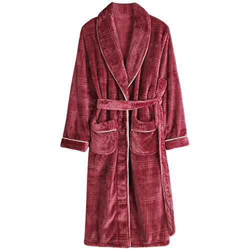 qazxsw Bathrobe Men Winter Cotton Robe Sleepwear Long Sleeve Long Bathrobe Kimono Man Casual Homewear Pijamas