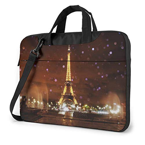 Bolso Bandolera para portátil Paris Eiffel Tower Night Notebook Sleeve Case, Funda para maletín de Transporte a Prueba de Golpes con Bolsillo Organizador
