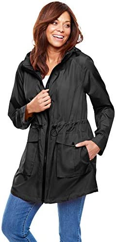 Woman Within Women s Plus Size Packable High Low Raincoat 28 W Black product image