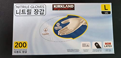 Kirkland Nitrile Exam Multi-Purpose Gloves 200 Count'Large Size'