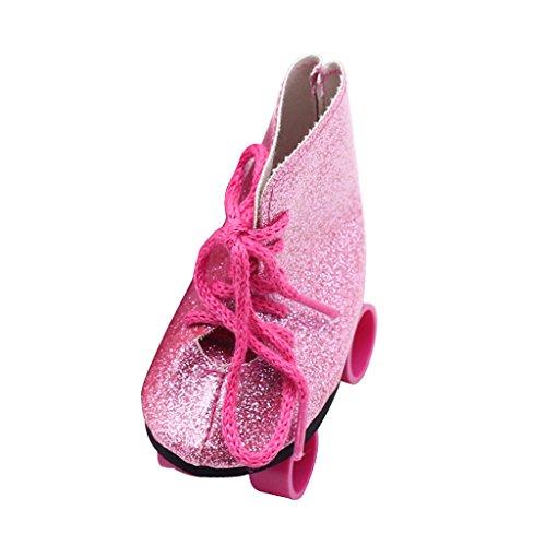Sharplace Modische Puppen Rollschuhe Roller Skates Schuhe für 18'' Mädchen Puppe Kleidung Zubehör - 3,15 x 1,57 x 3,07 - Rosa