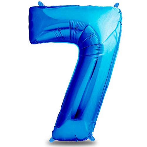 envami Globos de Cumpleãnos 7 Azul I 101 CM Globo 7 Años I Globo Numero 7 I Decoracion 7 Cumpleaños Niños I Globos Numeros Gigantes para Fiestas I Vuelan con Helio