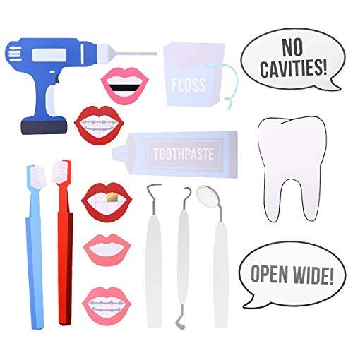 BinaryABC Dentist Photo Booth Props,Doctor Photo Booth Props,Dentist Graduation Party Supplies 16pcs