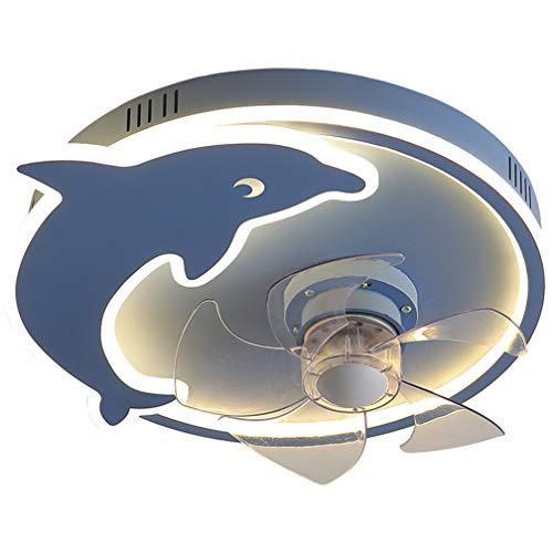 SYXBB-Lampe Dolphin Anillos Diseño Ventilador Ajustable de 3 velocidades LED Ventilador de Techo con iluminación Ultra-silenciosa Ventilador Invisible Luz de Techo para niñas Vivero Control Remoto