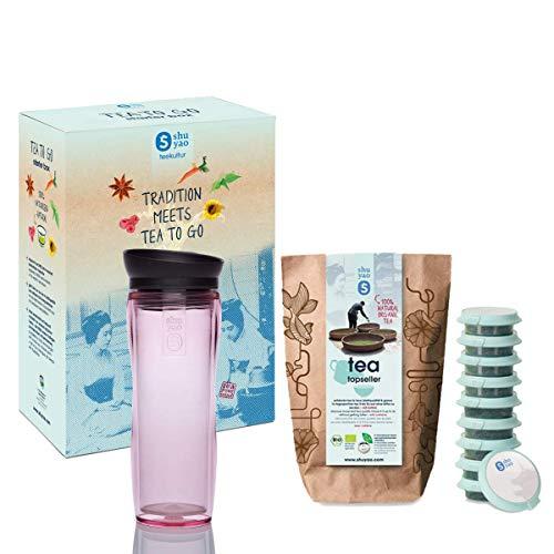 Shuyao Starter Box Tea To Go Tazza termica rosa (360 ml) con colino per tè integrato + 10 X tè bio sfuso 30 G