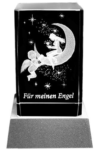 Kaltner Präsente Stimmungslicht – EIN ganz besonderes Geschenk: LED Kerze/Kristall Glasblock / 3D-Laser-Gravur Verliebte Himmel FÜR Meinen Engel