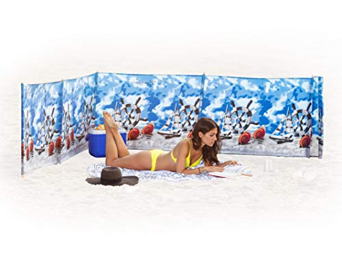 Beach Windscreen, Privacy Screen, Wind Blocker - Ships and Shells, with Mallet and Bag
