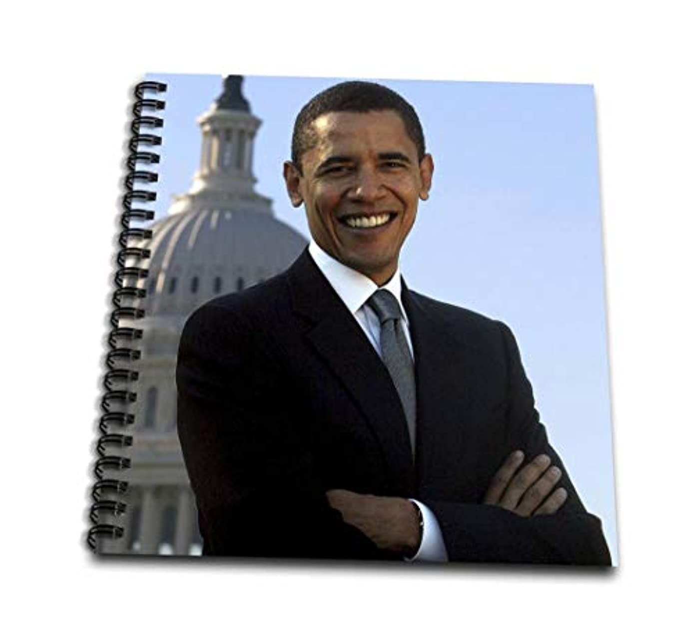 3dRose db_43733_2 Close Up Portrait of Pres Obama Front of Capital-Memory Book, 12 by 12