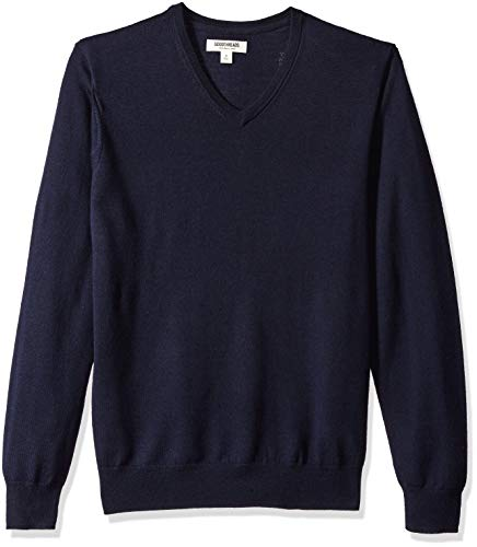 Amazon Brand - Goodthreads Men's Lightweight Merino Wool V-Neck Sweater, Navy, Large