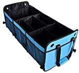 Cutequeen Trunk Organizer Back Seat Protector Storage Organizer Multi Compartments Collapsible Portable for SUV Car Truck Auto Red and Black(Pack of 1) (Trunk Organizer, Sky Blue)