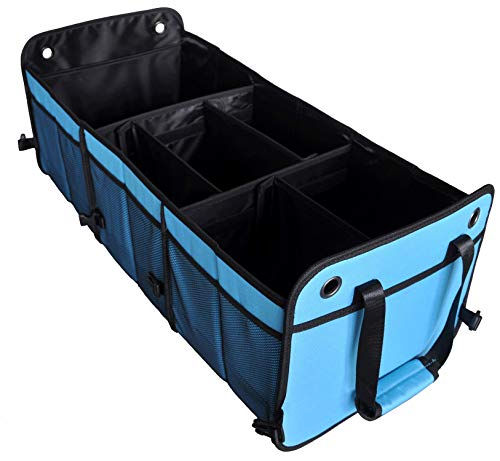 Cutequeen Trunk Organizer Back Seat Protector Storage Organizer Multi Compartments Collapsible Portable for SUV Car Truck Auto Red and BlackPack of 1 Trunk Organizer Sky Blue
