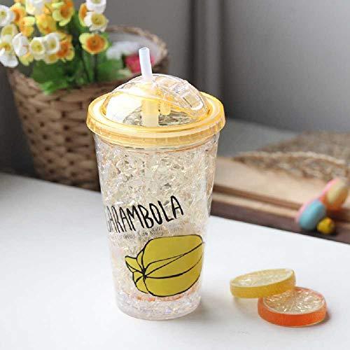 HWZIO NO Mode Doppel Stroh Obst Eisbecher Sommer Kaltgetränk Saft Kaffeetasse Plastikbecher 550ml/Sternfrucht