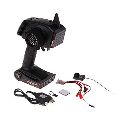 perfeclan Brush 30A ESC con Sistema Transmisor de 3 Canales de 2,4 GHz, Receptor GT2 para Modelo RC Universal Coche / Camión / Barco / Barco