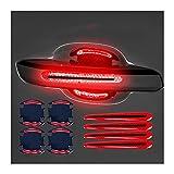 4 unids / set Puerta de la puerta Adhesiva de la manija 3D Fibra de carbono Puerta de la puerta de la puerta Pintura del protector de rasguño Etiqueta automática de la cubierta de rasguño pegatinas pe