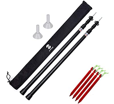 SaphiRose Adjustable Tarp Poles Set of 2 for Tents,Camping,Shelters,Hiking,Awnings(Black Updated Aluminum Poles)