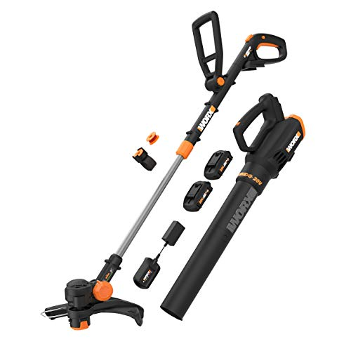 """WORX WG930.1 WG930 20V 10"""" Cordless String Trimmer & Turbine, 2 hi-Capacity 4.0Ah Batteries and Charger Grass Trimmer/Blower Combo Kit, Black and Orange"""