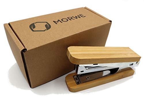 MORWE Grapadora de madera de bambú sostenible, grapadora manual sin plástico, grapadora de oficina de alta calidad, grapadora con grapas y grapas de madera noble, grapadora manual de bambú de oficina