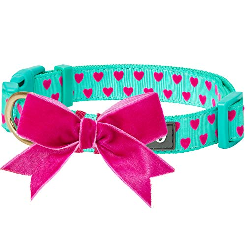 Blueberry Pet 4 Patterns Adjustable Flocking Dog Collar with Detachable Velvety Bowtie - Heart in Minty Green, Small, Neck 12'-16'