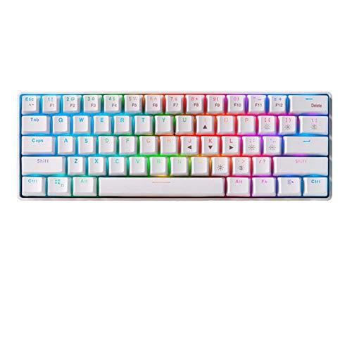 Tastatur kabelgebundene und kabellose mechanische Gaming-Tastatur Dual-Mode 61-Tasten blau RGB-Schalter LED-Tastatur mit Hintergrundbeleuchtung Schalter mit RGB-LED- und mechanischer Tastatur