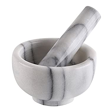 Greenco Marble Mortar and Pestle, 3.75 , White/Gray
