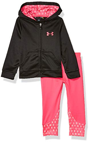 Under Armour Girls' Toddler Active Hoodie and Legging Set, Black f19, 4T