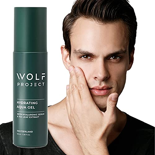 HYDRATING AQUA GEL FACE CREAM FOR MEN | By WOLF PROJECT - Lightweight Gel, Mens Lotion, Daily Routine With Powerful Natural Extracts, Fast Absorption, Facial Fuel, Morning Burst Moisturizer
