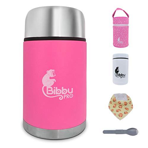 Bibbu PRO Thermos per Alimenti 1Lt | Contenitore Termico di Acciaio Inossidabile per Caldo Cibo, Bavaglino e Cucchiaio Incluso - Secondo Mini Thermos 250ml. (Rosa)