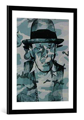 kunst für alle Bild mit Bilder-Rahmen: Andy Warhol Joseph Beuys - dekorativer Kunstdruck, hochwertig gerahmt, 60x80 cm, Schwarz/Kante grau