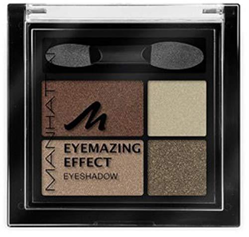 Manhattan Eyemazing Effect Eyeshadow – Schmink-Palette aus vier schimmernden Lidschatten-Farben für Smokey Eyes – Farbe Brownie Break 95R – 3 x 5g