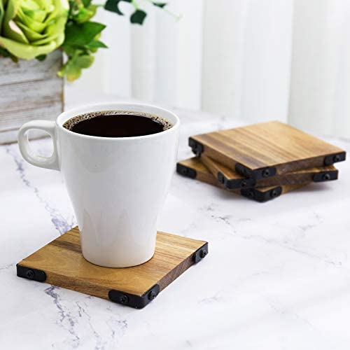 MyGift Premium Acacia Solid Wood Square Beverage Coasters with Matte Black Metal Corners for product image