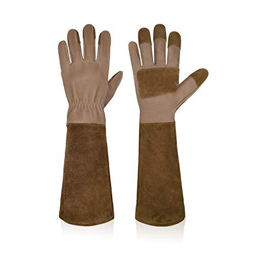HANDLANDY Lange Gartenhandschuhe für Männer und Frauen, Schweinsleder, Rosen-Handschuhe, atmungsaktiv und langlebig, mit dornsicheren Stulpen (M, Braun)