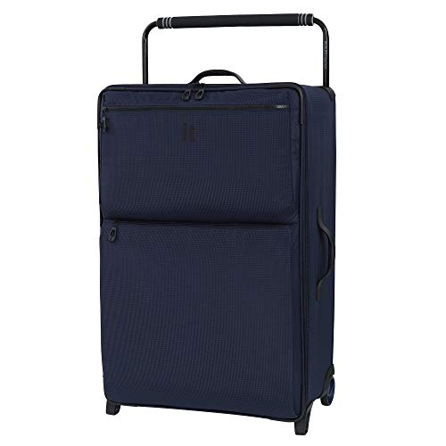 it luggage World's Lightest Los Angeles Softside Upright, Navy/Blue, Checked-Large 33-Inch