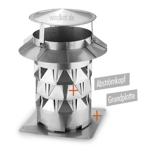 Windkat-Schornsteinaufsatz mit Grundplatte - Nennweite Ø 160 mm